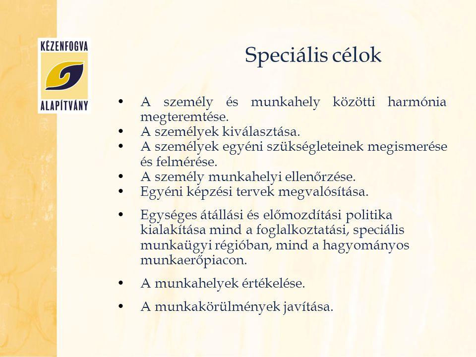 Speciális célok •A személy és munkahely közötti harmónia megteremtése. •A személyek kiválasztása. •A személyek egyéni szükségleteinek megismerése és f