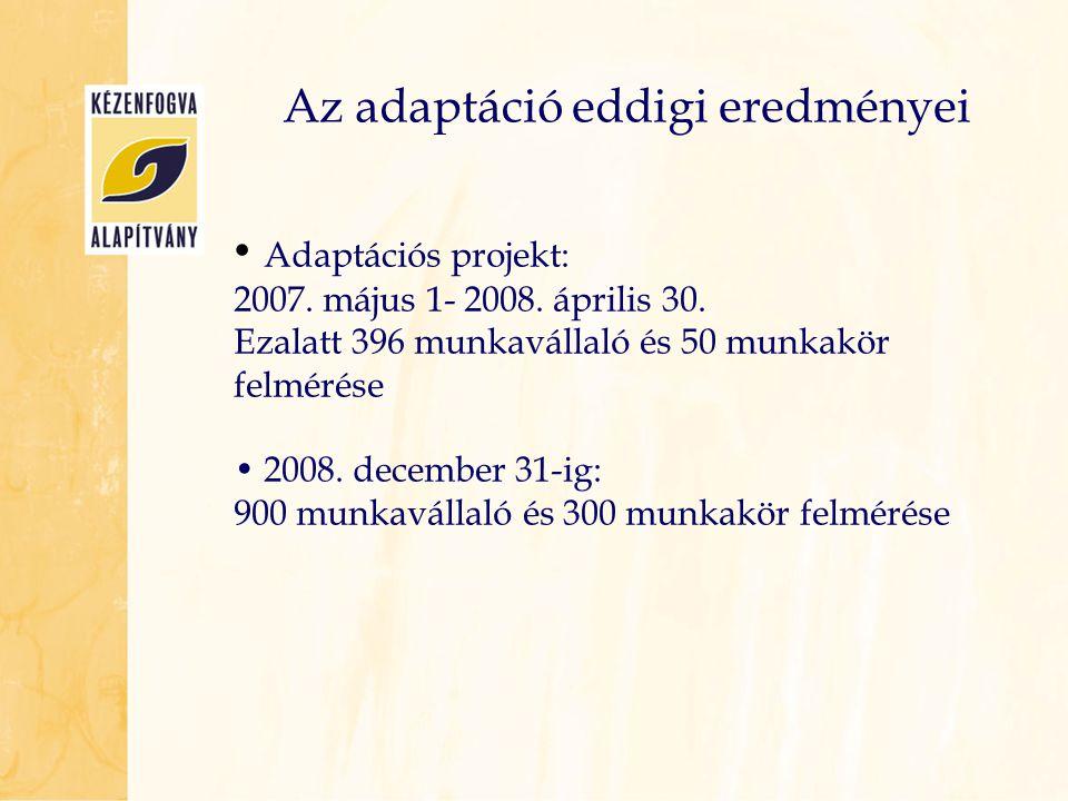 • Adaptációs projekt: 2007. május 1- 2008. április 30. Ezalatt 396 munkavállaló és 50 munkakör felmérése • 2008. december 31-ig: 900 munkavállaló és 3