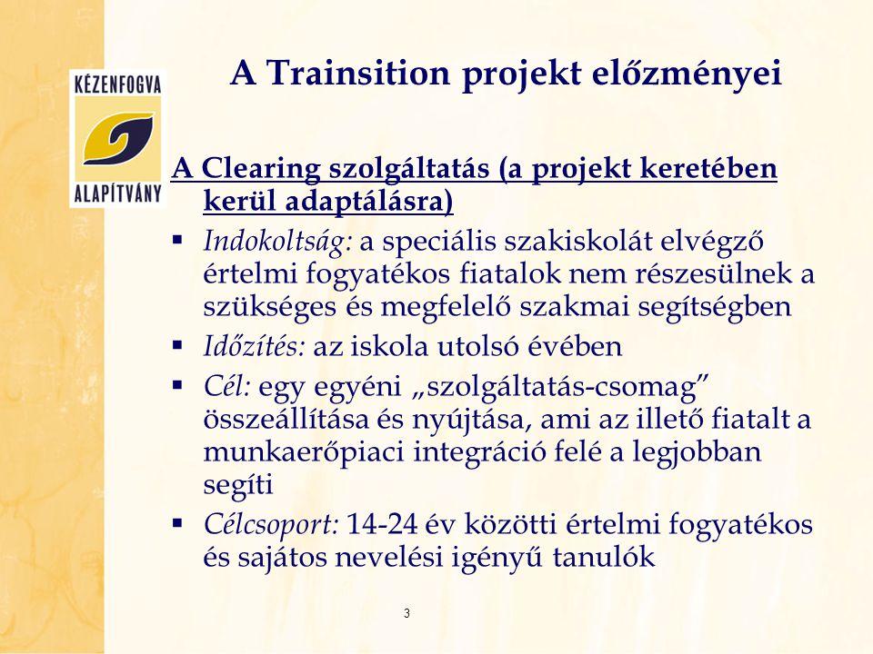A Clearing szolgáltatás (a projekt keretében kerül adaptálásra)  Indokoltság: a speciális szakiskolát elvégző értelmi fogyatékos fiatalok nem részesü