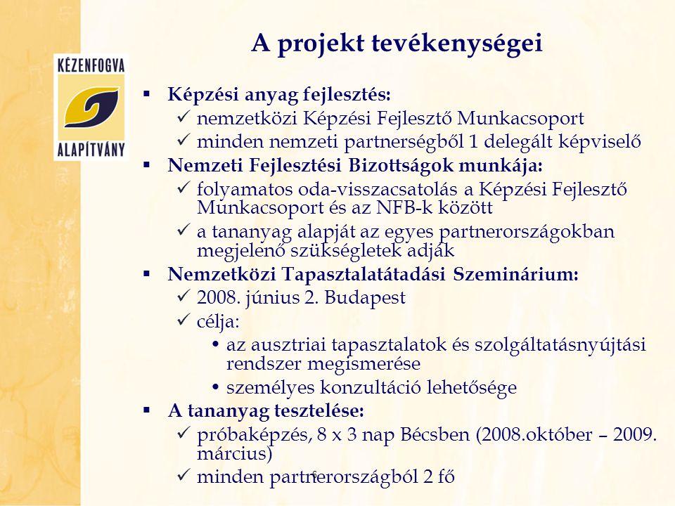 A projekt tevékenységei  Képzési anyag fejlesztés:  nemzetközi Képzési Fejlesztő Munkacsoport  minden nemzeti partnerségből 1 delegált képviselő 