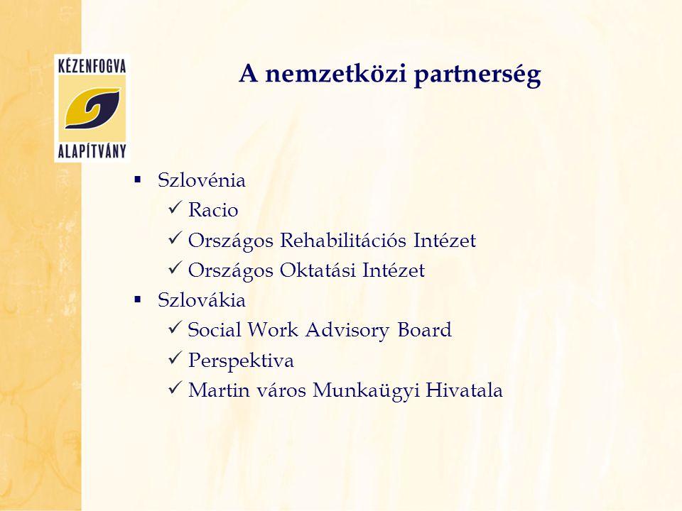 A nemzetközi partnerség  Szlovénia  Racio  Országos Rehabilitációs Intézet  Országos Oktatási Intézet  Szlovákia  Social Work Advisory Board  P
