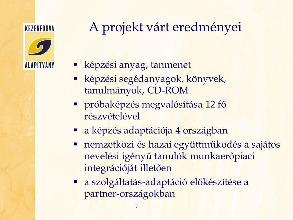 A projekt várt eredményei  képzési anyag, tanmenet  képzési segédanyagok, könyvek, tanulmányok, CD-ROM  próbaképzés megvalósítása 12 fő részvételév