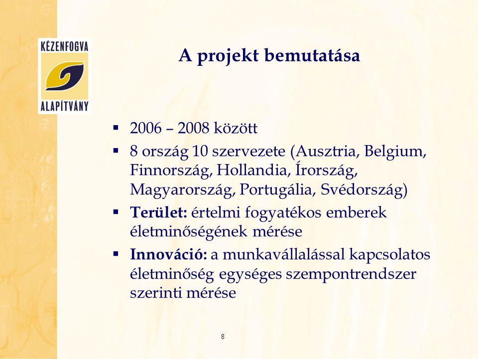 A projekt bemutatása  2006 – 2008 között  8 ország 10 szervezete (Ausztria, Belgium, Finnország, Hollandia, Írország, Magyarország, Portugália, Svéd