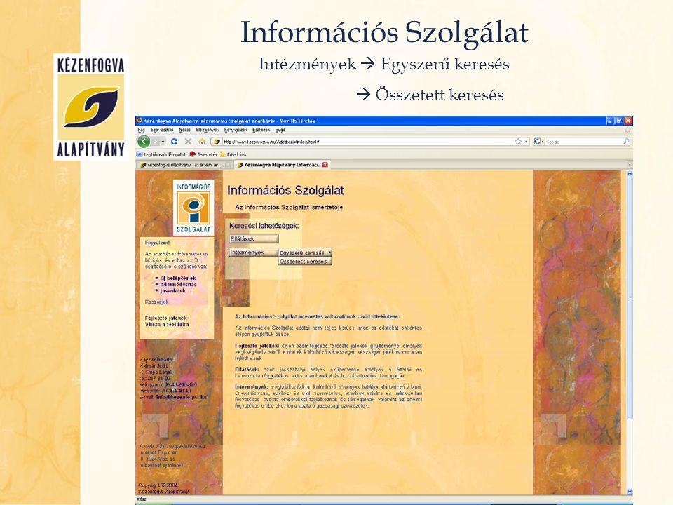 Információs Szolgálat Intézmények  Összetett keresés
