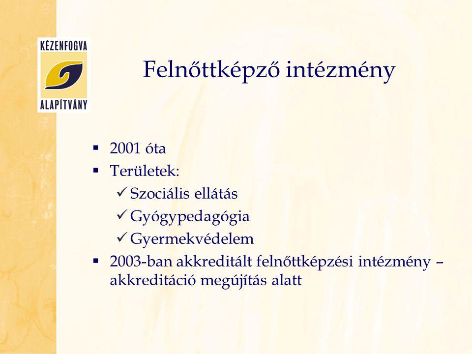  2001 óta  Területek:  Szociális ellátás  Gyógypedagógia  Gyermekvédelem  2003-ban akkreditált felnőttképzési intézmény – akkreditáció megújítás