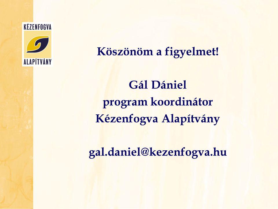 Köszönöm a figyelmet! Gál Dániel program koordinátor Kézenfogva Alapítvány gal.daniel@kezenfogva.hu