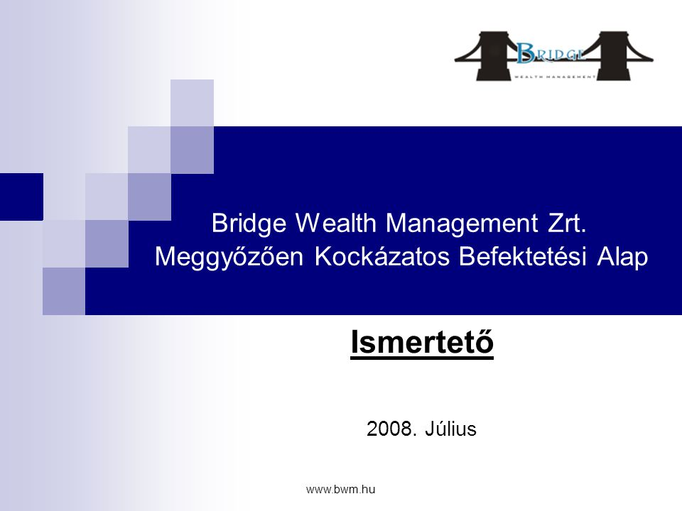 www.bwm.hu A kockázatok bemutatása • Hogyan védjük Stop megbízással a tőke egy részét: – Egy pozíción az ajánlott maximális tőke arány kockáztatása – De egyszerre több pozíción • Példa: 50 000 EUR, 1%-os kockázati szint, 10 pozíció