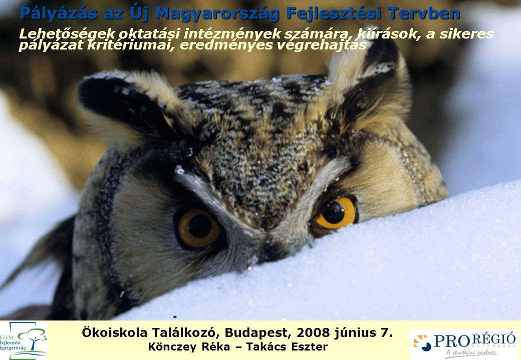Pályázás az Új Magyarország Fejlesztési Tervben Lehetőségek oktatási intézmények számára, kiírások, a sikeres pályázat kritériumai, eredményes végrehajtás Ökoiskola Találkozó, Budapest, 2008 június 7.