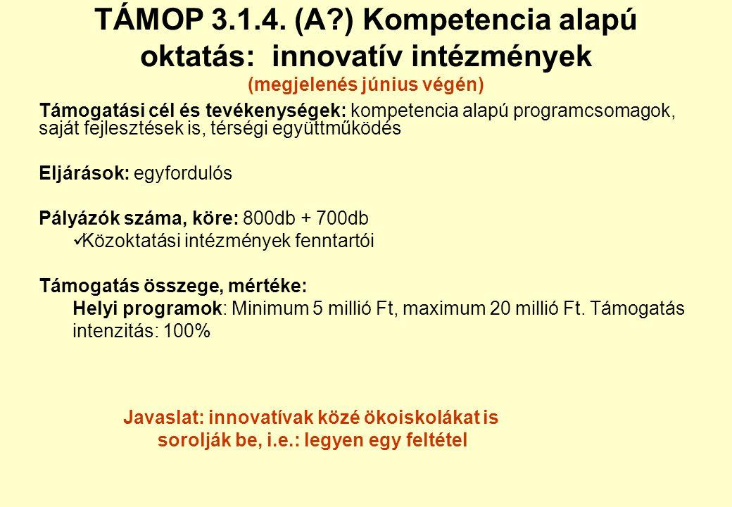 TÁMOP 3.1.2. új tartalomfejlesztések (megjelenés július végén) Támogatási cél és tevékenységek: NFT-I.-ben megkezdettek folytatása, modulok fejlesztés
