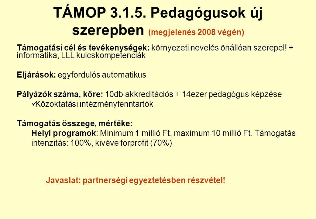 TÁMOP 3.1.4.(B?) vagy 3.2.2. Kompetencia alapú: Követő iskolák (megjelenés 2008 június) Támogatási cél és tevékenységek: ROP iskolafejlesztést végzők
