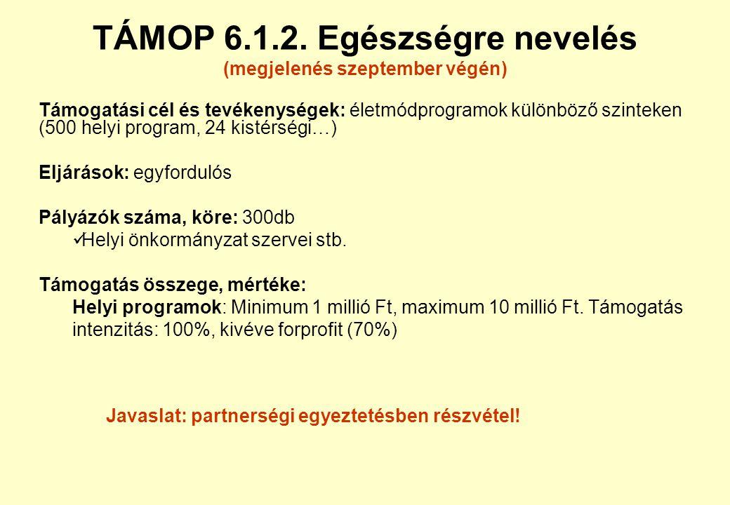 TÁMOP 3.2.2. területi együttműködések (megjelenés ősszel) Támogatási cél és tevékenységek: NFT-I.-ben megkezdettek fejlesztések folytatása, térségi há