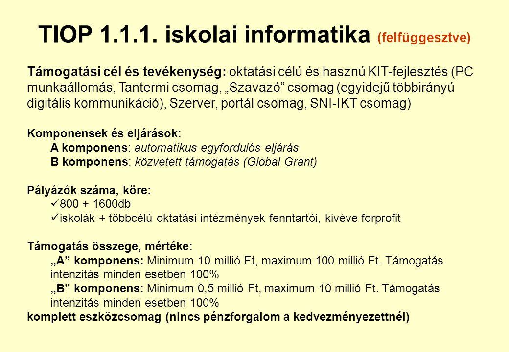 TÁMOP 6.1.2. Egészségre nevelés (megjelenés szeptember végén) Támogatási cél és tevékenységek: életmódprogramok különböző szinteken (500 helyi program