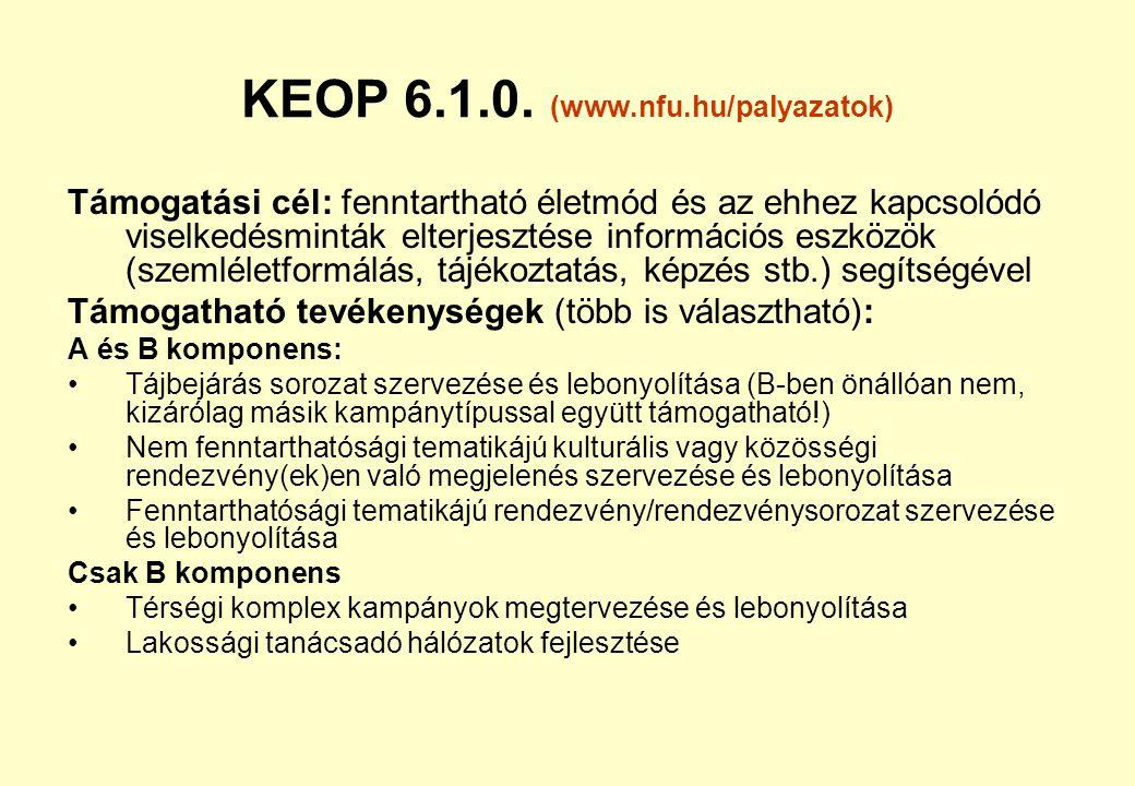 KEOP 5.2.0. energetikai hatékonyság / harmadik feles (www.nfu.hu/palyazatok) Támogatási cél és tevékenységek: közfeladatellátással megbízott intézmény