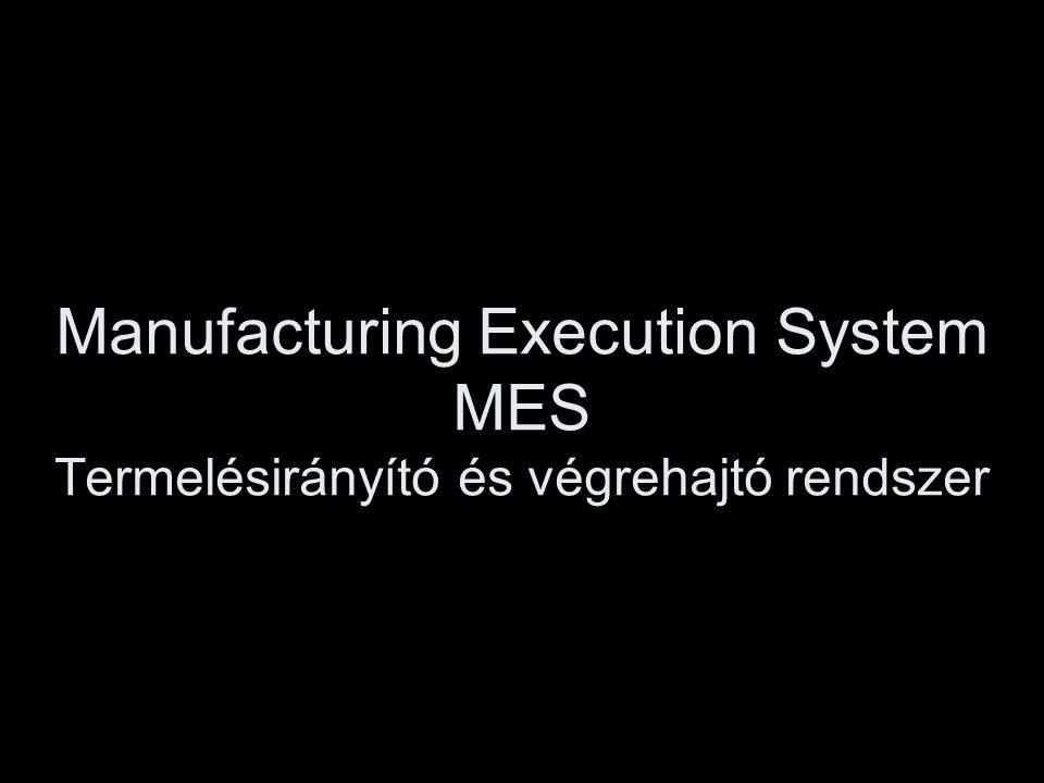 Manufacturing Execution System MES Termelésirányító és végrehajtó rendszer