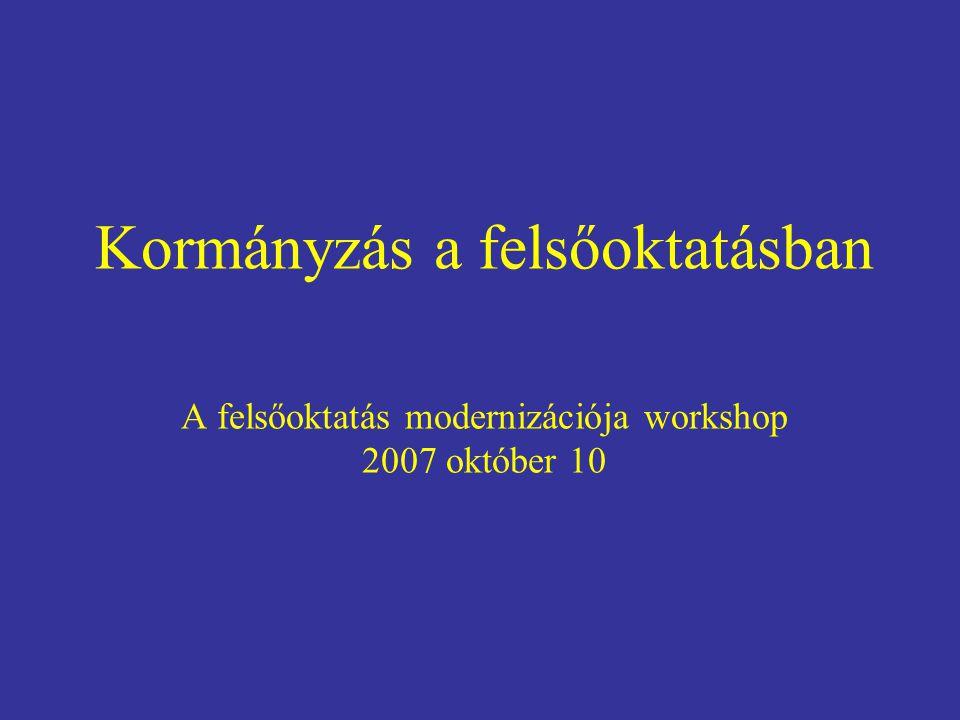 Kormányzás a felsőoktatásban A felsőoktatás modernizációja workshop 2007 október 10