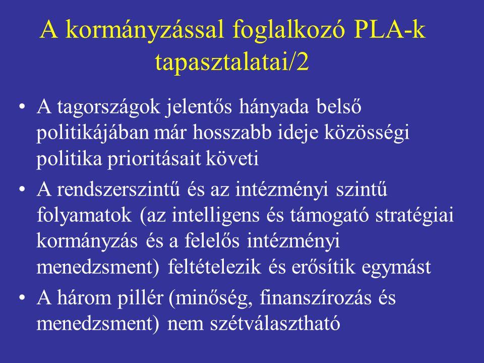 A kormányzással foglalkozó PLA-k tapasztalatai/2 •A tagországok jelentős hányada belső politikájában már hosszabb ideje közösségi politika prioritásai