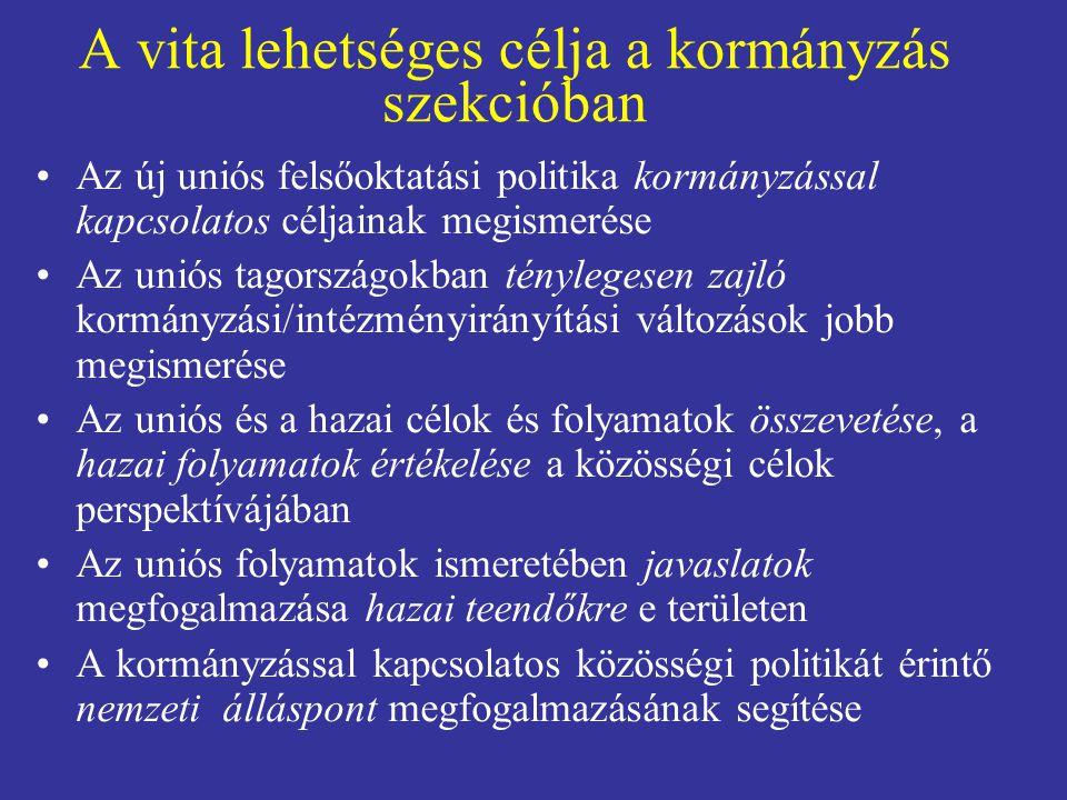 A vita lehetséges célja a kormányzás szekcióban •Az új uniós felsőoktatási politika kormányzással kapcsolatos céljainak megismerése •Az uniós tagorszá
