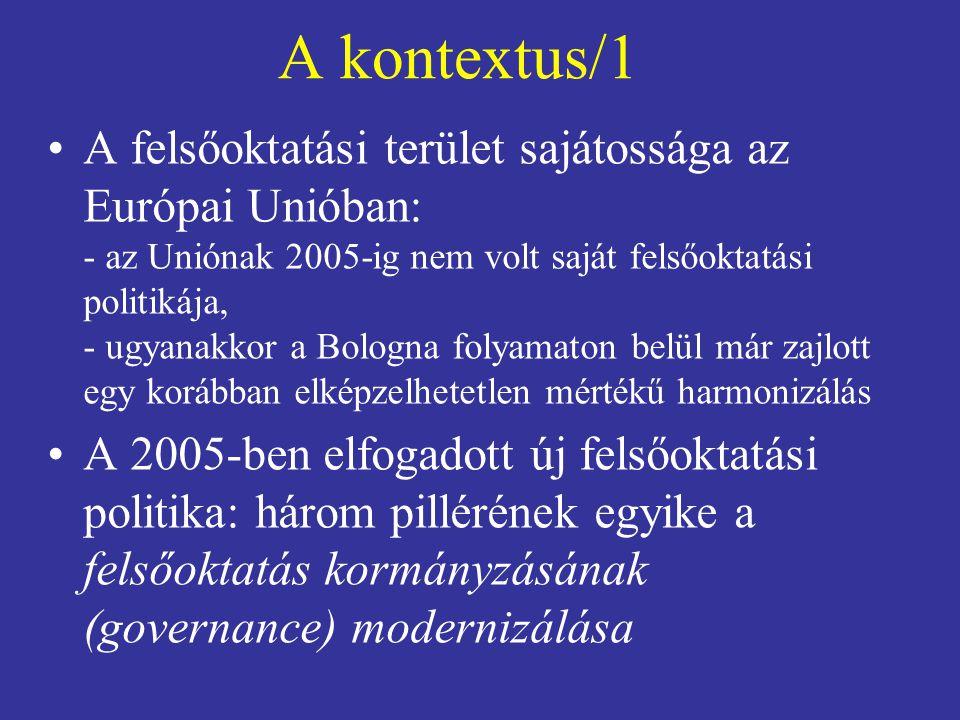"""A kontextus/2 •A kormányzás modernizálásának célja új: ez nem volt része a Bologna folyamatnak •Előzmények: –""""The role of the universities in the Europe of knowledge (2003) – a bolognai célok megvalósításának (kiválóság és a vonzóvá tétel) feltétele a hatékonyabb kormányzás és menedzsment –A 2003/04-ben lefolytatott vita eredménye: az állam új szabályozó szerepe + felelős és elszámoltatható intézmények"""