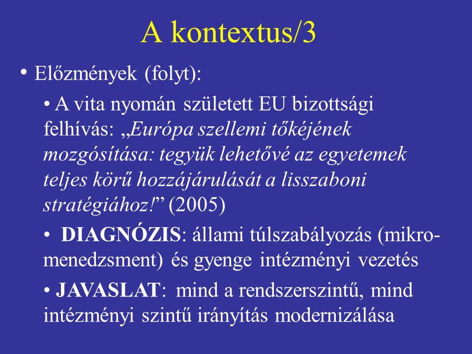 """A kontextus/3 • Előzmények (folyt): • A vita nyomán született EU bizottsági felhívás: """"Európa szellemi tőkéjének mozgósítása: tegyük lehetővé az egyet"""