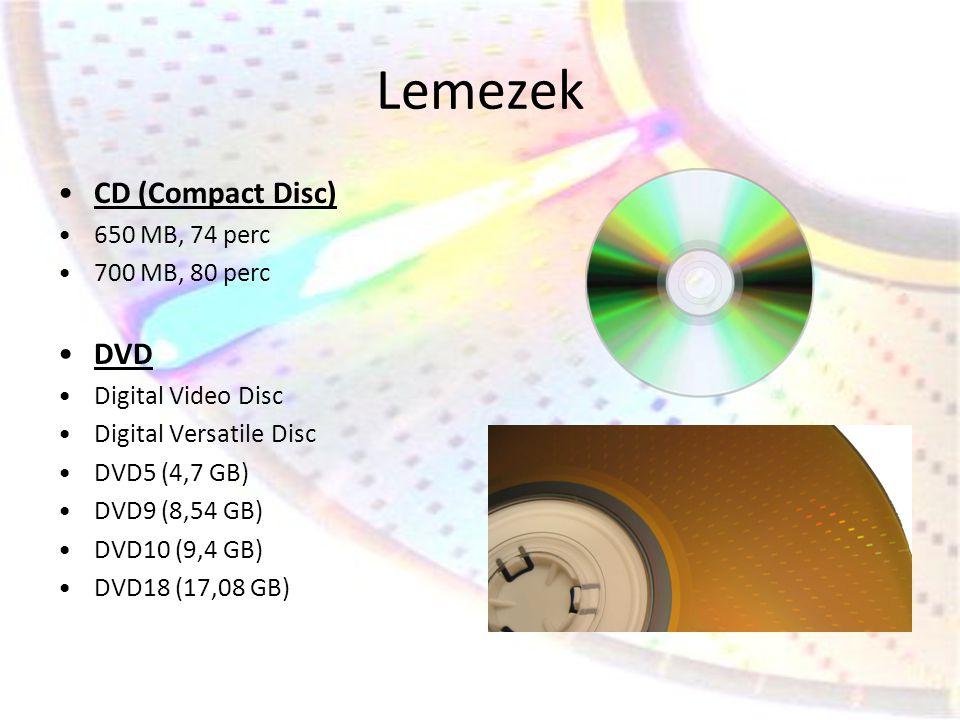 Lemezek •CD (Compact Disc) •650 MB, 74 perc •700 MB, 80 perc •DVD •Digital Video Disc •Digital Versatile Disc •DVD5 (4,7 GB) •DVD9 (8,54 GB) •DVD10 (9