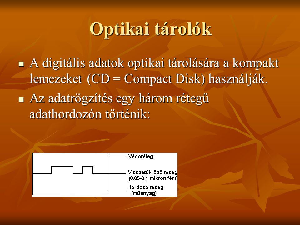 Optikai tárolók  A digitális adatok optikai tárolására a kompakt lemezeket (CD = Compact Disk) használják.  Az adatrögzítés egy három rétegű adathor