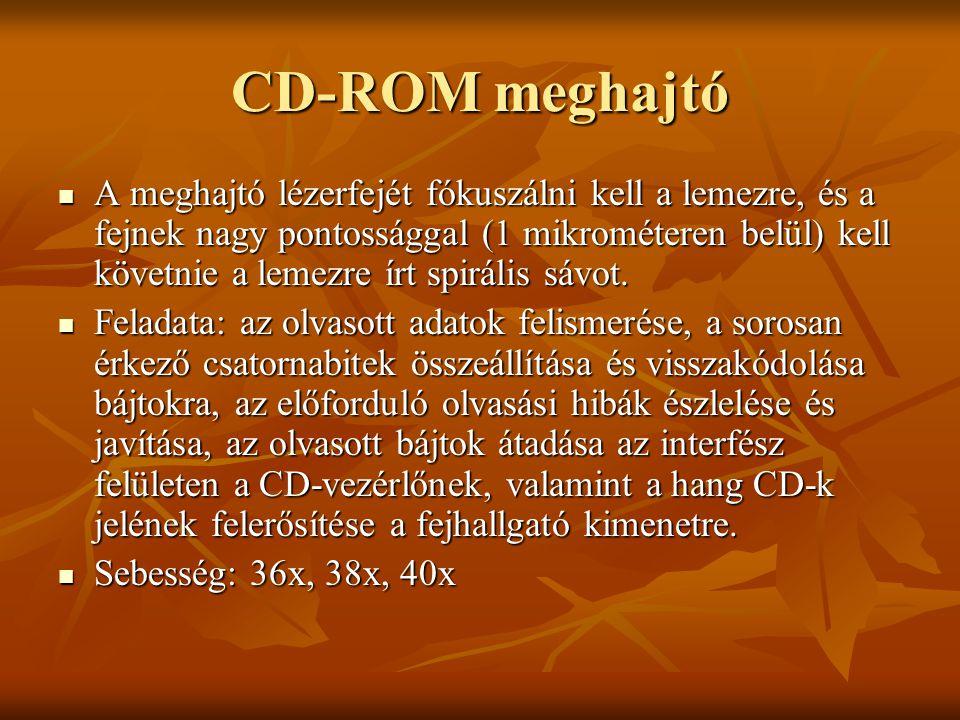 CD-ROM meghajtó  A meghajtó lézerfejét fókuszálni kell a lemezre, és a fejnek nagy pontossággal (1 mikrométeren belül) kell követnie a lemezre írt sp