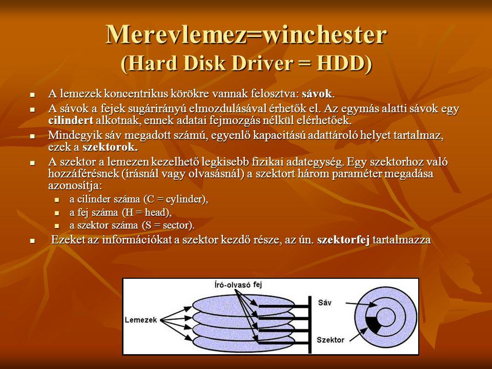 Merevlemez=winchester (Hard Disk Driver = HDD)  A lemezek koncentrikus körökre vannak felosztva: sávok.  A sávok a fejek sugárirányú elmozdulásával