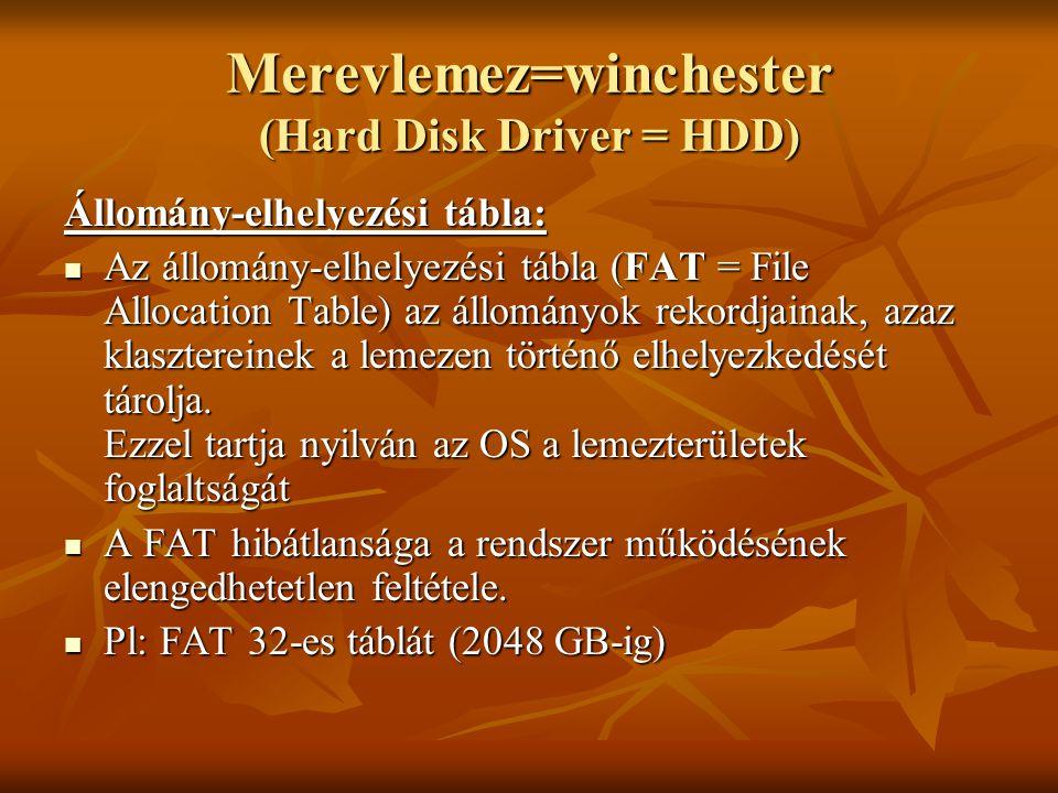 Merevlemez=winchester (Hard Disk Driver = HDD) Állomány-elhelyezési tábla:  Az állomány-elhelyezési tábla (FAT = File Allocation Table) az állományok