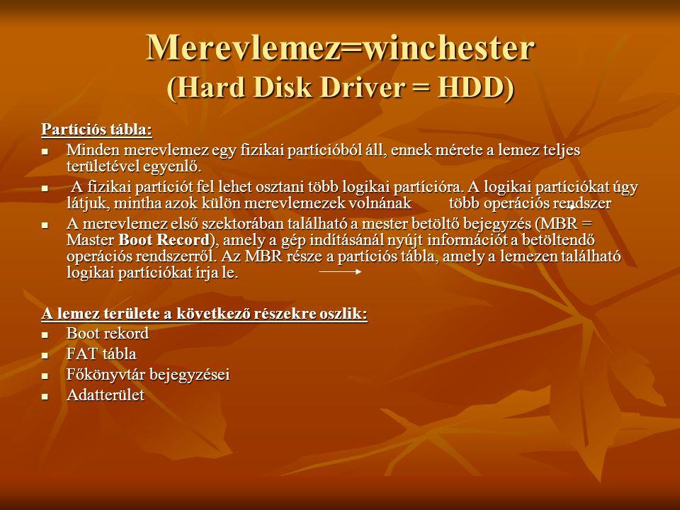 Merevlemez=winchester (Hard Disk Driver = HDD) Partíciós tábla:  Minden merevlemez egy fizikai partícióból áll, ennek mérete a lemez teljes területév