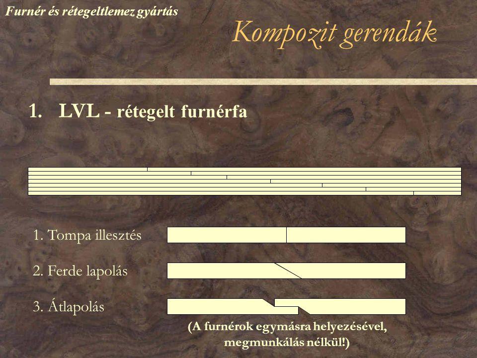 Kompozit gerendák 1.LVL - rétegelt furnérfa 1. Tompa illesztés 2.