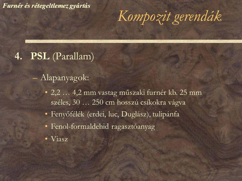 Kompozit gerendák 4.PSL (Parallam) –Alapanyagok: •2,2 … 4,2 mm vastag műszaki furnér kb.