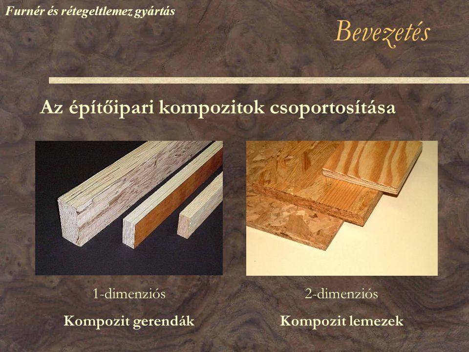 Bevezetés Az építőipari kompozitok csoportosítása Kompozit gerendákKompozit lemezek 1-dimenziós2-dimenziós Furnér és rétegeltlemez gyártás
