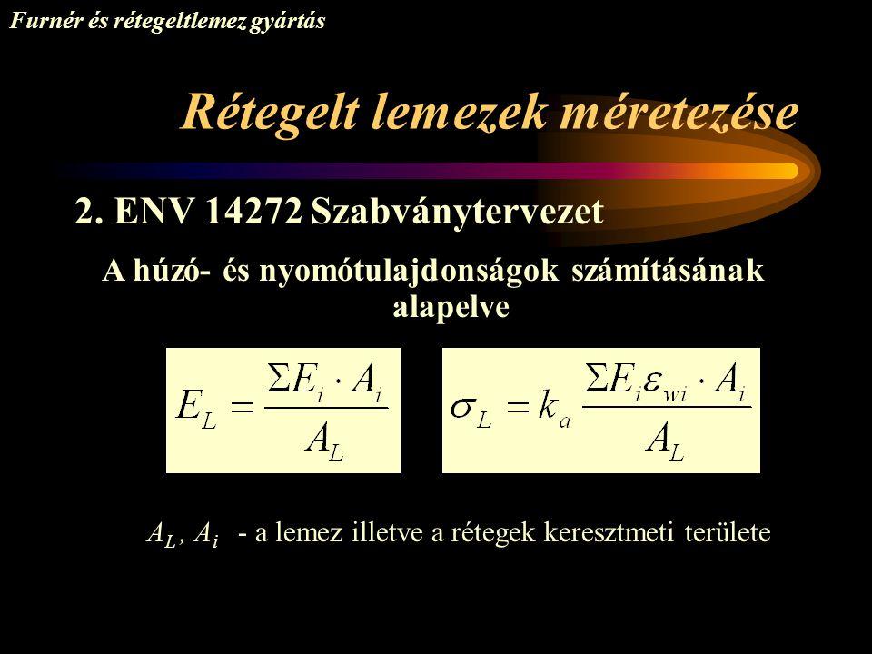Rétegelt lemezek méretezése Furnér és rétegeltlemez gyártás 2. ENV 14272 Szabványtervezet A húzó- és nyomótulajdonságok számításának alapelve A L, A i