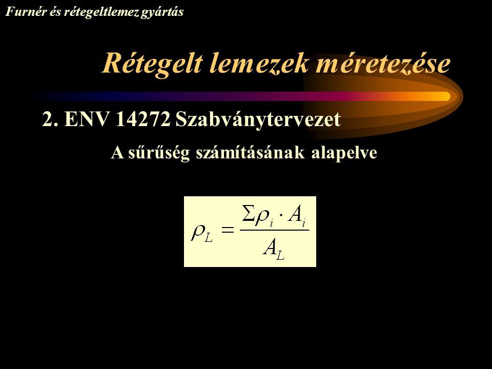 Rétegelt lemezek méretezése Furnér és rétegeltlemez gyártás 2. ENV 14272 Szabványtervezet A sűrűség számításának alapelve