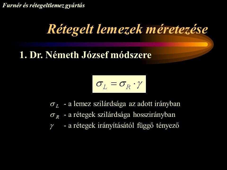 Rétegelt lemezek méretezése Furnér és rétegeltlemez gyártás 1. Dr. Németh József módszere  L - a lemez szilárdsága az adott irányban  R - a rétegek