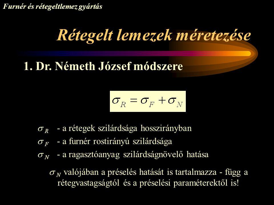 Rétegelt lemezek méretezése Furnér és rétegeltlemez gyártás 1. Dr. Németh József módszere  R - a rétegek szilárdsága hosszirányban  F - a furnér ros
