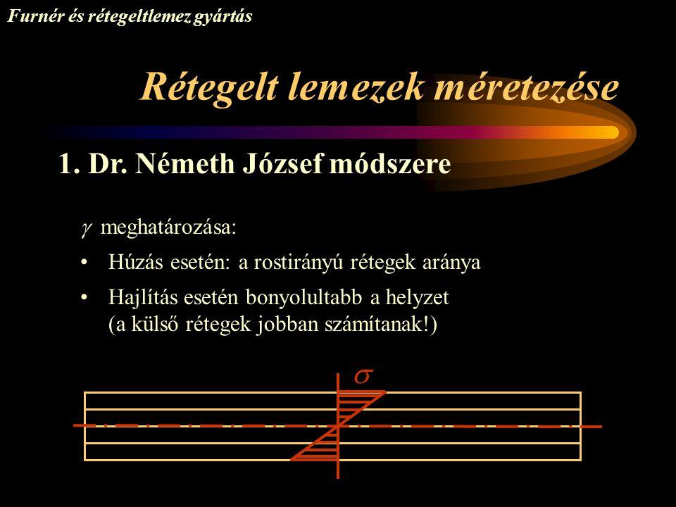 Rétegelt lemezek méretezése Furnér és rétegeltlemez gyártás 1. Dr. Németh József módszere  meghatározása: •Húzás esetén: a rostirányú rétegek aránya