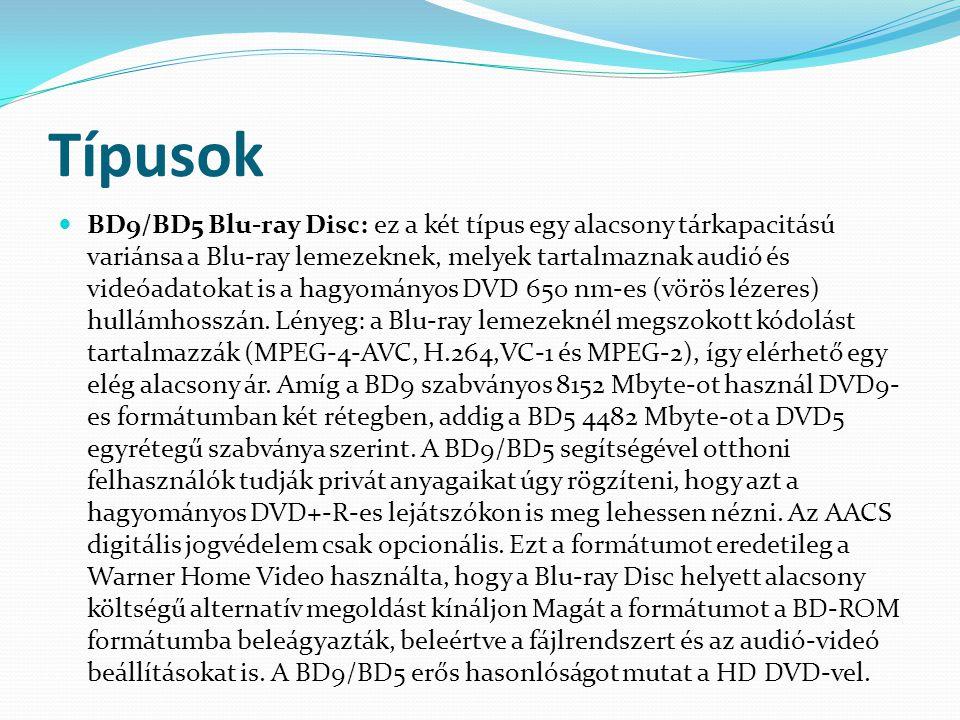 Típusok  BD9/BD5 Blu-ray Disc: ez a két típus egy alacsony tárkapacitású variánsa a Blu-ray lemezeknek, melyek tartalmaznak audió és videóadatokat is