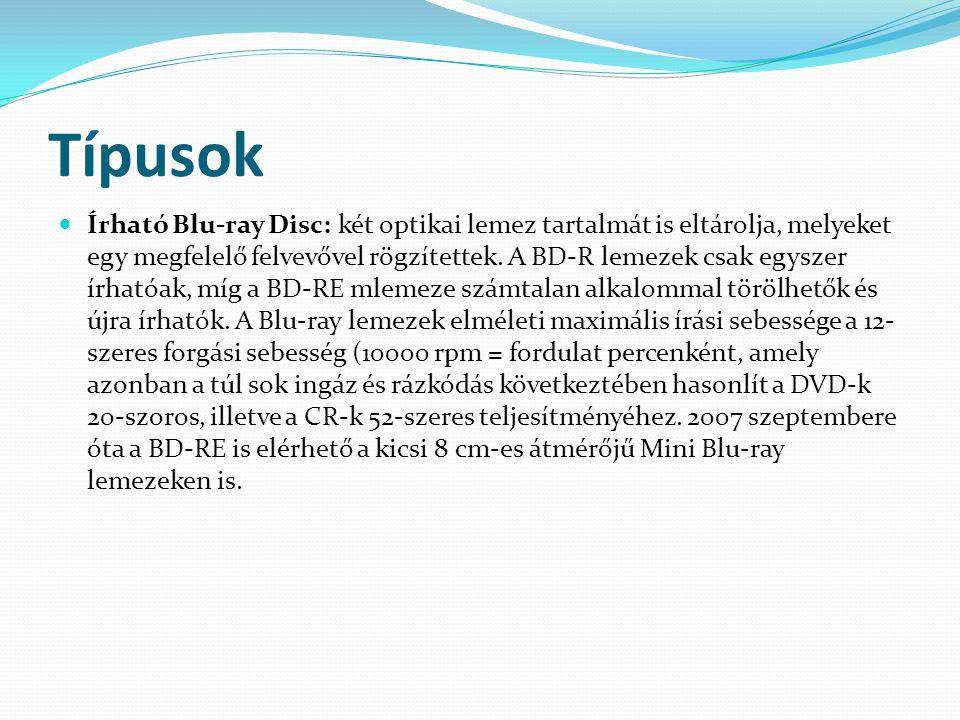 Típusok  Írható Blu-ray Disc: két optikai lemez tartalmát is eltárolja, melyeket egy megfelelő felvevővel rögzítettek. A BD-R lemezek csak egyszer ír