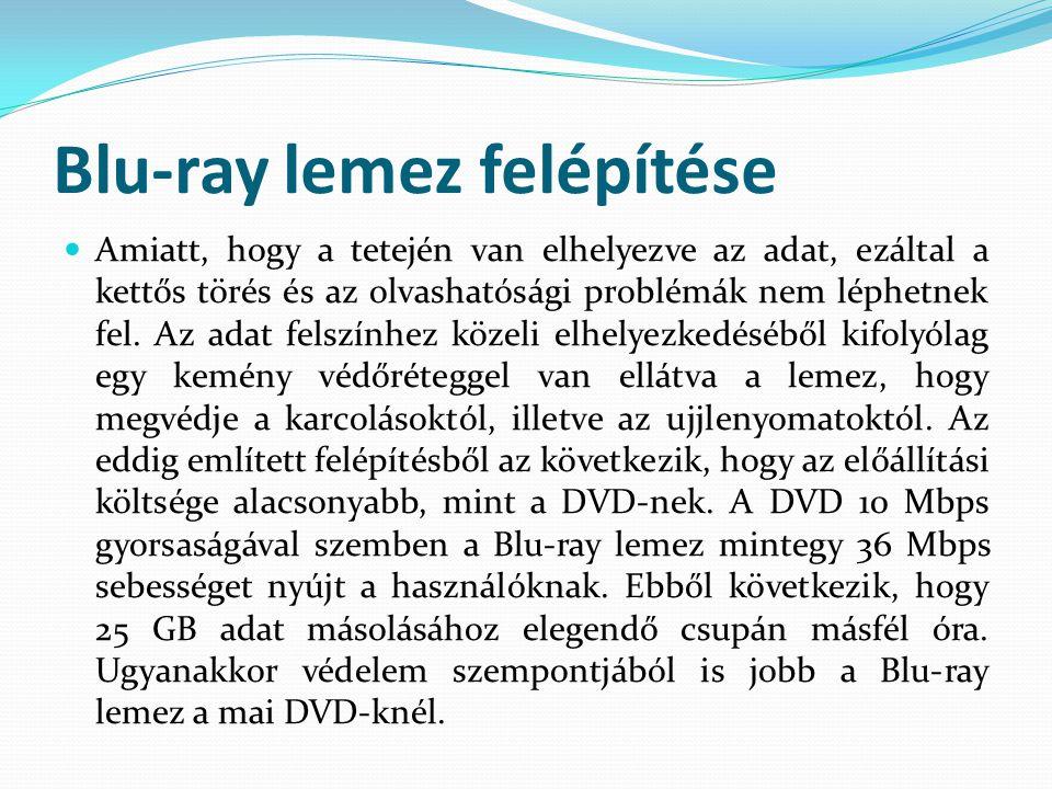 Blu-ray lemez felépítése  Amiatt, hogy a tetején van elhelyezve az adat, ezáltal a kettős törés és az olvashatósági problémák nem léphetnek fel. Az a