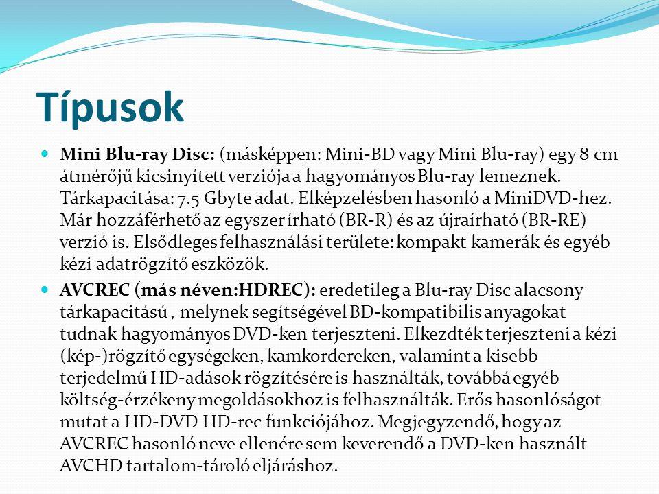Típusok  Mini Blu-ray Disc: (másképpen: Mini-BD vagy Mini Blu-ray) egy 8 cm átmérőjű kicsinyített verziója a hagyományos Blu-ray lemeznek. Tárkapacit