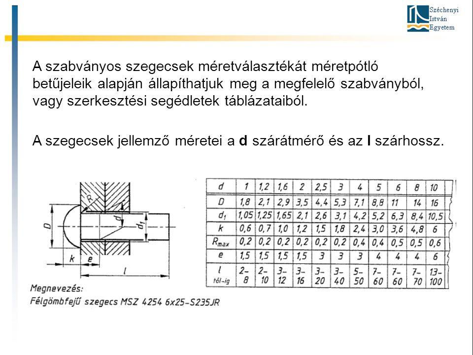 A szabványos szegecsek méretválasztékát méretpótló betűjeleik alapján állapíthatjuk meg a megfelelő szabványból, vagy szerkesztési segédletek táblázat