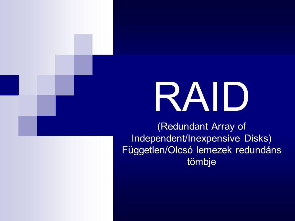 RAID (Redundant Array of Independent/Inexpensive Disks) Független/Olcsó lemezek redundáns tömbje