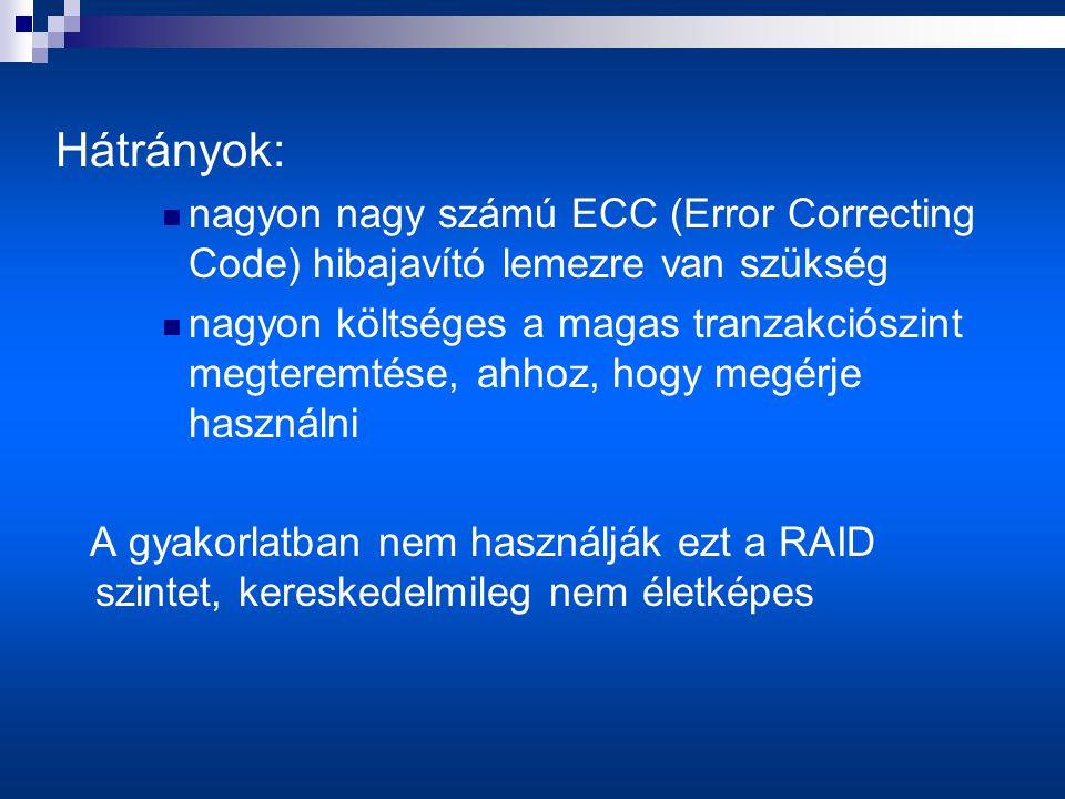 Hátrányok:  nagyon nagy számú ECC (Error Correcting Code) hibajavító lemezre van szükség  nagyon költséges a magas tranzakciószint megteremtése, ahhoz, hogy megérje használni A gyakorlatban nem használják ezt a RAID szintet, kereskedelmileg nem életképes
