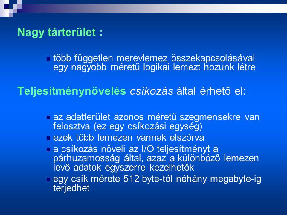 Nagy tárterület :  több független merevlemez összekapcsolásával egy nagyobb méretű logikai lemezt hozunk létre Teljesítménynövelés csíkozás által érhető el:  az adatterület azonos méretű szegmensekre van felosztva (ez egy csíkozási egység)  ezek több lemezen vannak elszórva  a csíkozás növeli az I/O teljesítményt a párhuzamosság által, azaz a különböző lemezen levő adatok egyszerre kezelhetők  egy csík mérete 512 byte-tól néhány megabyte-ig terjedhet