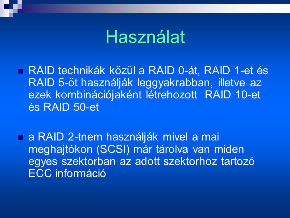 Használat  RAID technikák közül a RAID 0-át, RAID 1-et és RAID 5-öt használják leggyakrabban, illetve az ezek kombinációjaként létrehozott RAID 10-et és RAID 50-et  a RAID 2-tnem használják mivel a mai meghajtókon (SCSI) már tárolva van miden egyes szektorban az adott szektorhoz tartozó ECC információ