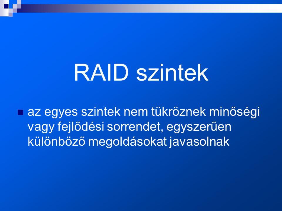 RAID szintek  az egyes szintek nem tükröznek minőségi vagy fejlődési sorrendet, egyszerűen különböző megoldásokat javasolnak