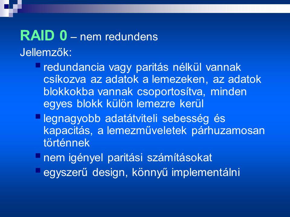 RAID 0 – nem redundens Jellemzők:  redundancia vagy paritás nélkül vannak csíkozva az adatok a lemezeken, az adatok blokkokba vannak csoportosítva, minden egyes blokk külön lemezre kerül  legnagyobb adatátviteli sebesség és kapacitás, a lemezműveletek párhuzamosan történnek  nem igényel paritási számításokat  egyszerű design, könnyű implementálni