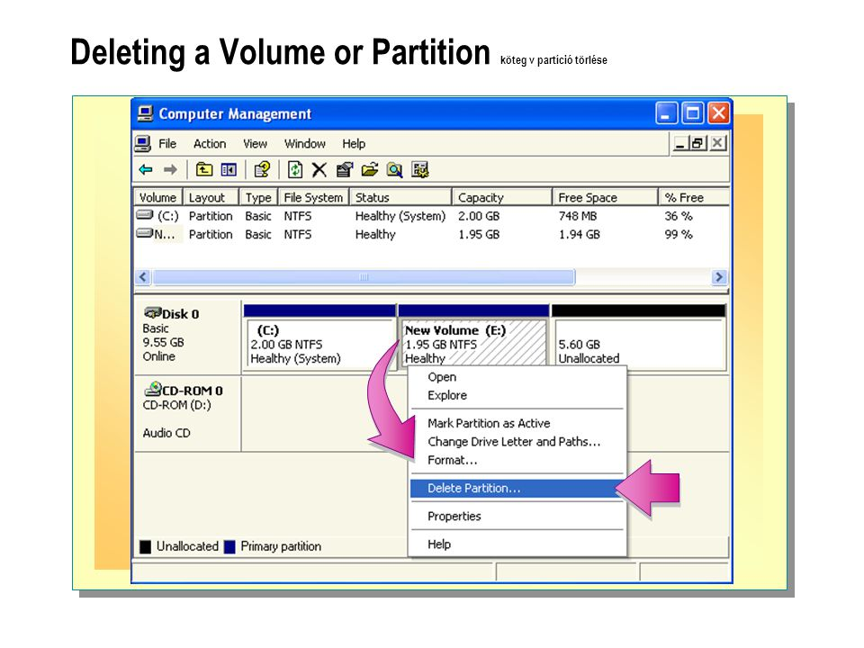 Deleting a Volume or Partition köteg v partíció törlése