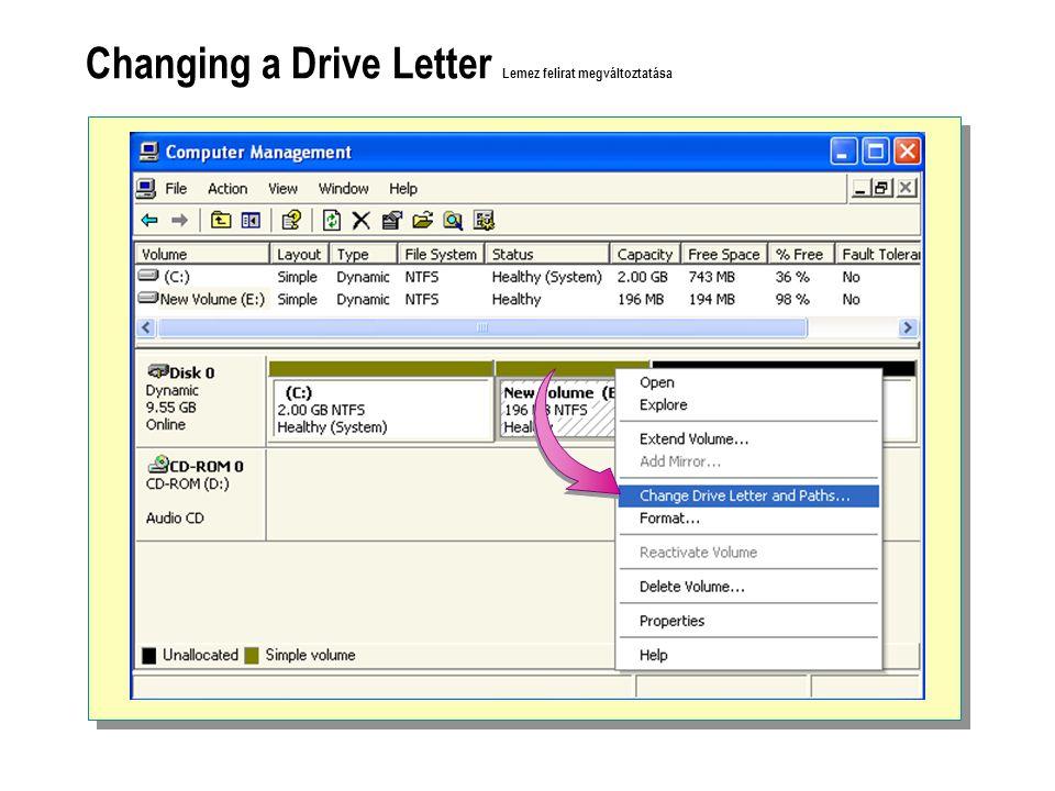 Changing a Drive Letter Lemez felirat megváltoztatása